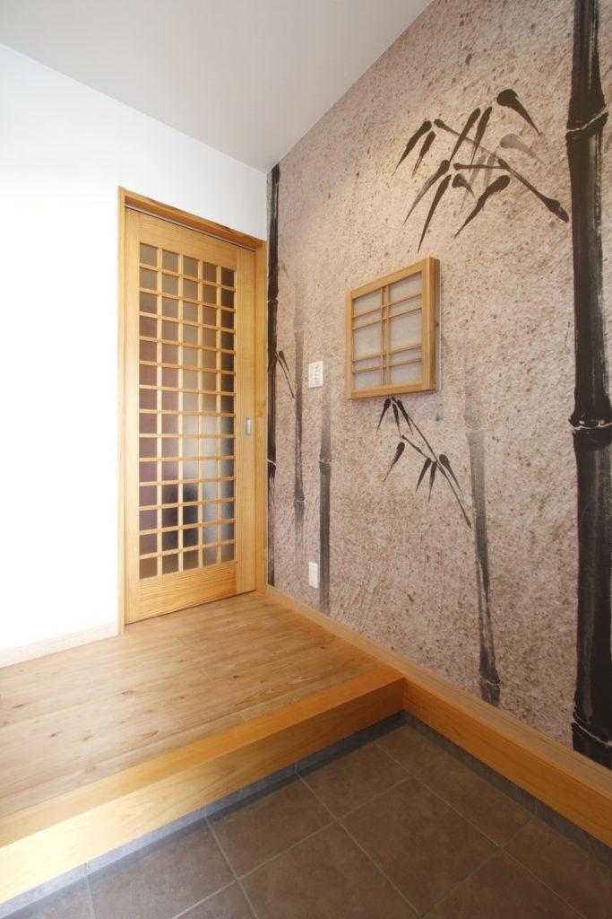 和モダンな旅館をイメージした家(玄関)